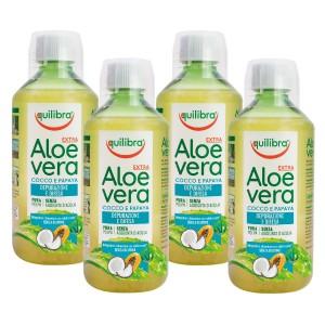 ALOE VERA EXTRA - cu nucă de Cocos și Papaya, Pachet 4 bucăți, EQUILIBRA, Supliment alimentar pentru revitalizarea şi regenerarea întregului organism, 500 ml