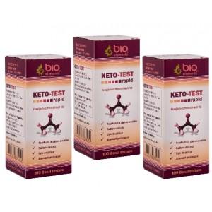 KETO - TEST, 300 benzi, 3 Pachete de testare rapidă a corpilor cetonici din urină (cetonurie)