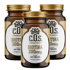Biotina(Vitamina B7), C.O.S. Laboratories, 300mcg, 300 Tablete, Pachet 3 flacoane