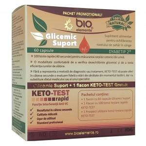 Pachet promoțional Glicemic Suport + KETO-TEST gratuit