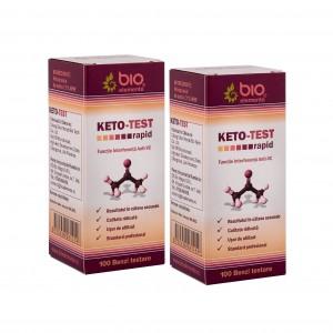 KETO - TEST, 200 benzi, 2 Pachete de testare rapidă a corpilor cetonici din urină (cetonurie)