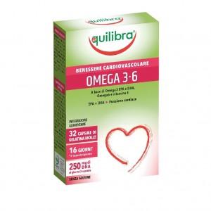OMEGA 3-6, Supliment alimentar pentru starea de bine a sistemului cardiovascular, EQUILIBRA, 32 Capsule moi, 38,4 g.
