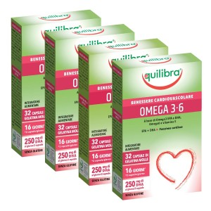 OMEGA 3-6, Pachet 4 bucăți, Supliment alimentar pentru starea de bine a sistemului cardiovascular, EQUILIBRA, 32 Capsule moi, 38,4 g.
