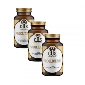 PROGLICEMIC, supliment alimentar pentru un nivel normal al glicemiei, Pachet 3 bucati, C.O.S. Laboratories, 180 capsule