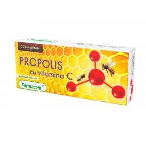 PROPOLIS CU VITAMINA C, supliment alimentar ce sustine sanatatea gatului, Farmacom, 30 capsule