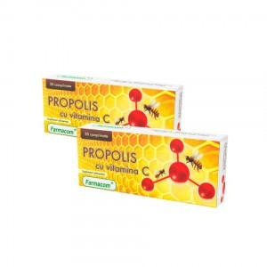 PROPOLIS CU VITAMINA C, supliment alimentar ce sustine sanatatea gatului, Pachet 2 bucati, Farmacom, 60 capsule