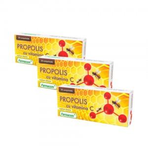 PROPOLIS CU VITAMINA C, supliment alimentar ce sustine sanatatea gatului, Pachet 3 bucati, Farmacom, 90 capsule