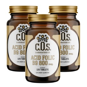 Vitamina B9 Acid folic 800mcg 360 Tablete Pachet 3 Flacoane