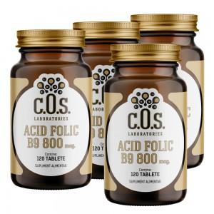 Vitamina B9 Acid folic 800mcg 480 Tablete Pachet 4 Flacoane
