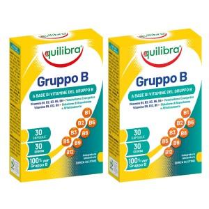 VITAMINA B COMPLEX, Pachet 2 bucăți, EQUILIBRA, Supliment alimentar cu vitamine din complexul B, 30 Capsule