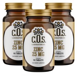 Zinc 25 mg 270 tablete Pachet 3 flacoane