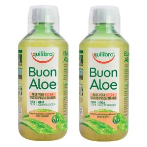 BUONALOE EXTRA - cu gust de Piersică, Pachet 2 bucăți, EQUILIBRA, Supliment alimentar pentru revitalizarea şi regenerarea întregului organism, 500 ml