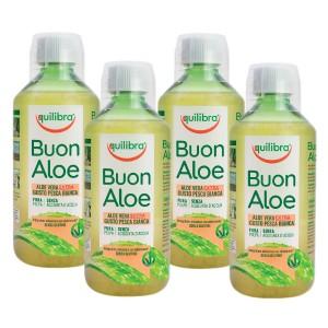 BUONALOE EXTRA - cu gust de Piersică, Pachet 4 bucăți, EQUILIBRA, Supliment alimentar pentru revitalizarea şi regenerarea întregului organism, 500 ml