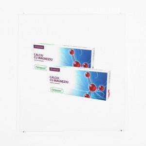 CALCIU și MAGNEZIU, supliment alimentar pentru efectele neplacute ale excesului de aciditate gastrica, Pachet 2 bucati, Farmacom, 60 capsule