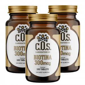 Biotina(Vitamina B7) 300mcg 300 Tablete Pachet 3 Flacoane