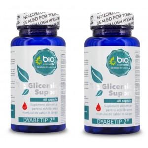 Glicemic Suport - Supliment alimentar pentru reglarea nivelului de zahăr în sânge - Dyabetip 2 - 120 Capsule, Pachet 2 Flacoane