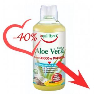 ALOE VERA EXTRA cu Nuca de Cocos și Papaya, EQUILIBRA, 1000 ml