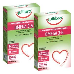 OMEGA 3-6, Pachet 2 bucăți, Supliment alimentar pentru starea de bine a sistemului cardiovascular, EQUILIBRA, 32 Capsule moi, 38,4 g.