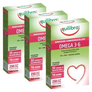 OMEGA 3-6, Pachet 3 bucăți, Supliment alimentar pentru starea de bine a sistemului cardiovascular, EQUILIBRA, 32 Capsule moi, 38,4 g.