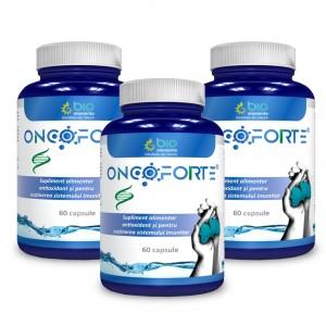 ONCOFORTE - pachet 3 bucăți, Supliment alimentar recomandat împotriva afectiunilor tumorale, 180 Capsule