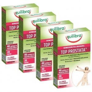 TOP  PROSTATA, Pachet 4 bucăți, Supliment alimentar pentru susținerea funcționării optime a prostatei, EQUILIBRA, 40 Capsule