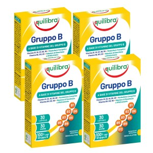 VITAMINA B COMPLEX, Pachet 4 bucăți, EQUILIBRA, Supliment alimentar cu vitamine din complexul B, 30 Capsule