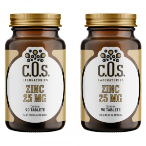 Zinc 25 mg, C.O.S. Laboratories, 180 tablete, Pachet 2 flacoane